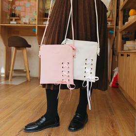 纯色少女蝴蝶结单肩包  文具