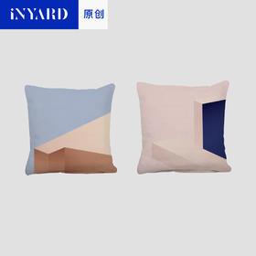 [InYard宜氧]共筑抱枕靠枕/北欧纯棉简约设计风格沙发靠垫粉蓝色