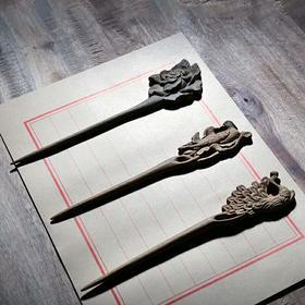 周广胜发簪手工雕刻木簪绿檀木簪子古典盘发头饰古风配饰发钗步摇