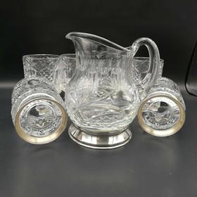 【菲集】欧洲艺术品 收藏品 西班牙银制底座酒杯 1934年左右 玻璃酒壶 6杯+1壶 跨境直邮
