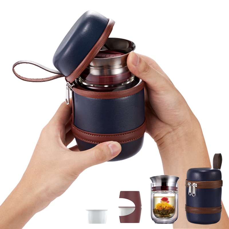 小时光便携旅行功夫茶具套装 一壶二杯快客杯迷你耐热玻璃杯子【D】