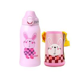 日本KUMAMOT熊本士儿童保温杯600ml 316材质 粉粉兔
