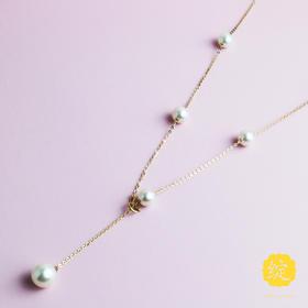 天然淡水珍珠项链 18k金 多种戴法