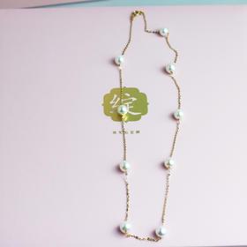 天然淡水珍珠项链 18k金 多圈