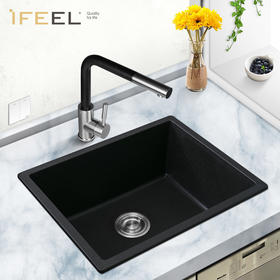 艾斐厨房水槽花岗岩石英石单槽洗菜盆加厚台下盆水池洗碗池261
