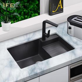 艾斐石英石水槽厨房洗碗菜盆水池手工花岗岩龙头水盆单槽套餐293