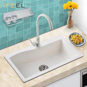 艾斐石英石水槽加厚大单槽手工花岗岩洗菜盆碗池厨房水槽套餐451