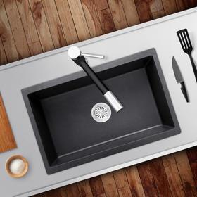 艾斐石英石水槽花岗岩大单槽台上台下厨房洗菜盆加厚水池套餐455