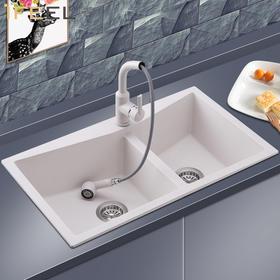 艾斐水槽双槽洗碗池欧式台下盆台上盆带龙头厨房水槽大洗菜盆水池472