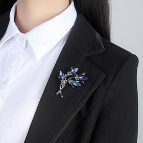 简约百搭配饰品水晶花朵胸针RS