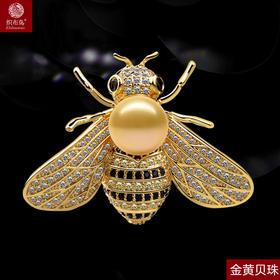 新品精致蜜蜂胸针微镶锆石天然珍珠饰品别针RS