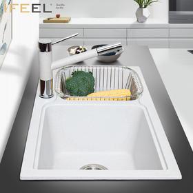 艾斐石英石花岗岩水槽双槽洗菜盆双盆厨房水槽洗碗池水池SKD461