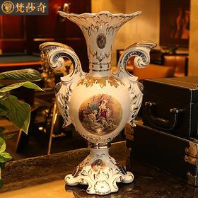 梵莎奇大号欧式陶瓷插花花瓶奢华客厅复古电视柜家居落地装饰摆件