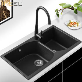 艾斐厨房石英石花岗岩水槽洗菜盆洗碗池加厚超大双槽厨盆套餐471