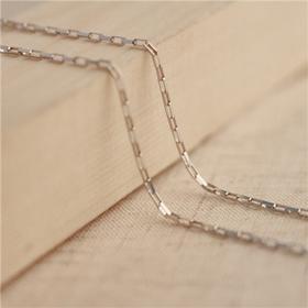 灵语银s925纯银饰品项链女士十字架白银项链锁骨链长方链