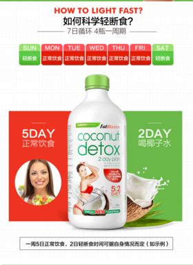 澳洲Coconut Detox Fatblaster天然椰子水瘦身塑形断食代餐 750ml