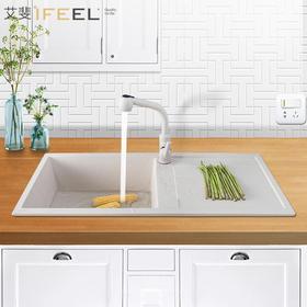 艾斐石英花岗岩水槽带沥水台石英石水槽厨房水槽单双槽洗菜盆水池291