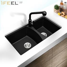 艾斐石英石花岗岩水槽双槽洗菜盆高硬度厨房水槽洗碗盆双盆SKD473
