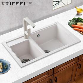 艾斐厨房水槽套餐双槽花岗岩洗碗池 洗菜加厚水盆石英石水槽460