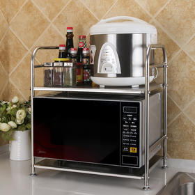 【】不锈钢厨房微波炉置物架 烤箱电饭煲收纳储物调料架