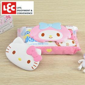 日本丽固LEC HelloKitty卡通超强粘贴力湿巾盖防尘防燥反复使用