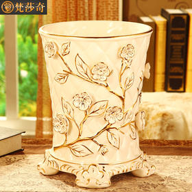 梵莎奇奢华欧式垃圾桶创意客厅家用大号陶瓷垃圾桶卧室书房卫生间