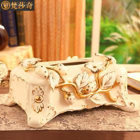 梵莎奇新品陶瓷纸巾盒创意奢华客厅餐桌欧式抽纸盒茶几装饰品摆件