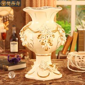 梵莎奇欧式花瓶摆件 奢华客厅复古电视柜花瓶陶瓷家居装饰插花器