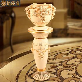 奢华欧式葡萄罗马柱花瓶手工描金陶瓷摆件玄关客厅大号落地花盆装饰品