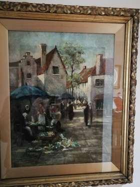 【菲集】艺术品 英国艺术家艾维·韦伯20世纪初作比利时街景油画 带画框 签名画 跨境直邮
