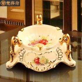 梵莎奇新品陶瓷烟灰缸 奢华欧式手工描金创意时尚个性玫瑰烟灰缸送礼