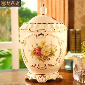 梵莎奇欧式茶叶罐创意奢华带盖密封储物罐防潮陶瓷茶叶桶茶盒大号