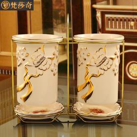梵莎奇家用陶瓷欧式创意筷子筒挂式双筒筷架防霉沥水筷子盒筷笼厨房套装