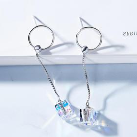 新款采用施华洛世奇元素水晶S925纯银方糖耳钉CDE
