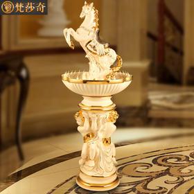 梵莎奇欧式喷泉流水摆件奢华别墅客厅大型落地加湿器陶瓷装饰品乔迁礼物