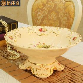 梵莎奇欧式果盘奢华家用客厅茶几大号水果盘陶瓷摆件结婚礼物