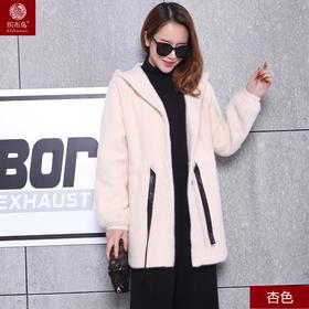 冬季加厚水貂绒毛衣女外穿短款宽松百搭开衫外套YC170
