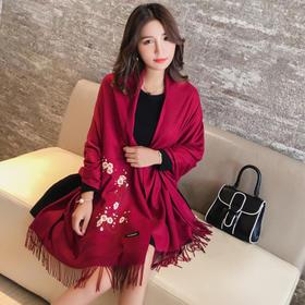 冬季保暖长款酒红梅花刺绣民族风保暖围巾披肩JN