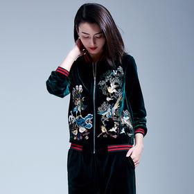 超柔金丝绒休闲刺绣套装YFN9120(绿)