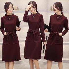 中长款纯色简约百搭优雅魅力连衣裙 货号XMTZ960