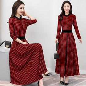 修身超显瘦早春时尚大摆型格子连衣裙 货号LF797