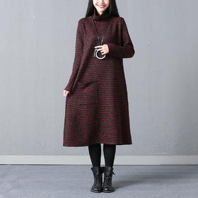 春季休闲素雅条纹连衣裙 货号GGJ6793