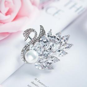 时尚锆石珍珠胸针白天鹅胸针CDE