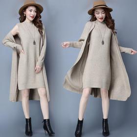 两件套套头针织毛衣中长款开衫宽松连衣裙厚套装YM888