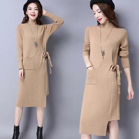 半高领长款过膝打底毛衣裙宽松显瘦开叉针织连衣裙HL8877