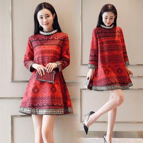 复古典雅中国风九分袖连衣裙 货号XMTZ6513