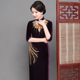 紫色金凰高档丝绒面料修身旗袍GY