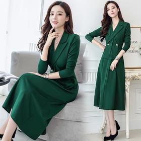 时尚都市高腰V领纯色连衣裙 货号ABS6816