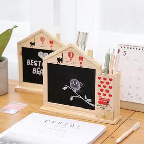 创意多功能木质笔筒  小黑板可记笔记   文具