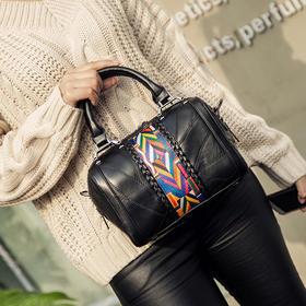 新款真皮时尚拼接彩带羊皮单肩包手提包 XH1865